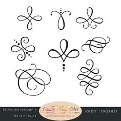 Instant Download- Calligraphy Ornaments, Graphic Ornaments, Wedding Clip Art…