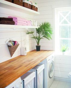Solid wood top with open shelf storage. Open Shelving, Storage Shelves, Shelf, Interior And Exterior, Interior Design, Laundry In Bathroom, Bathroom Inspiration, Kitchen Remodel, Solid Wood