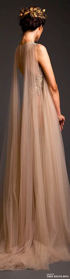 Krikor Jabotian Couture S/S 2014 - Princess, fantasy bride with the stunning shoulder detail of floor length gathered tulle. Beautiful, romantic and ethereal!