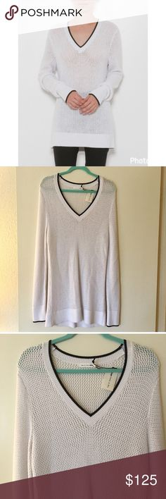 """NWT rag & bone Elizabeth V-Neck Sweater Item: Elizabeth V-Neck Sweater   - Size: M - Material:Pictured - Condition: NWT - Color: White/Black - Pockets: No - Lined: No - Stretch: Yes  *Measurements:  Bust: 20"""" Waist: 17"""" Hips: 20"""" Length: 31"""" Sleeve:  Full Length    * Almost all my prices are negotiable and no offer offends me! * rag & bone Sweaters V-Necks"""