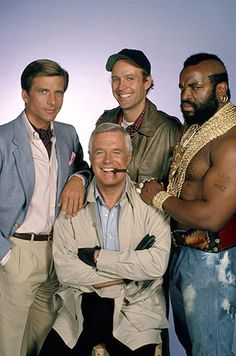 The A-Team - 1980s show - Hannibal, Face Man, B.A. and, my favourite, Howlin' Mad Murdoch (centre back row)