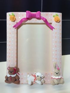 Baby pink frame - fimo decorated