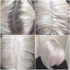Formula! Natural level 5 regrowth. #Redken #Flashlift + 30 volume. Processed for 35 minutes until pale yellow. Toning formula SEQ Gloss 09t + processing solution. Processed for 3 minutes. Shampooed and conditioned with Blonde Idol. #iceblonde #coolblonde #silverblonde @modernsalon #modernsalon