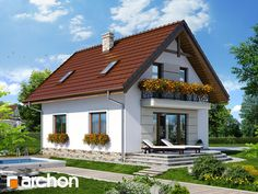 Dom w lukrecji 5 (T) Prefabricated Houses, Small House Design, Dream House Plans, Home Decor Kitchen, House Rooms, Home Fashion, Bungalow, Tiny House, Cottage