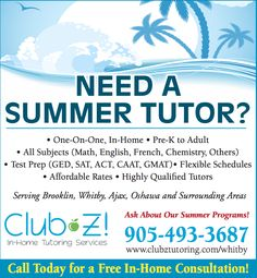 In Home Tutoring & Online Tutoring - Club Z! Tutoring of Whitby, ON Home Tutors, Online Tutoring, Study Skills, Test Prep, Foreign Languages, Chemistry, Flexibility, Acting, Group