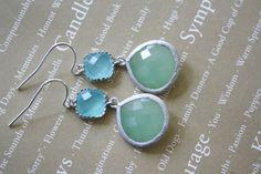 Aqua Earrings Mint Earrings Silver Earrings by AvaHopeDesigns