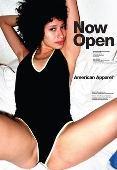 The BANNED AD of 2012 for AMERICAN APPAREL new opening store in Stockholm. i think she forgot the rest of her clothes.