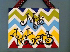 Teacher Door Hanger painted canvas