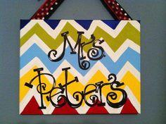Teacher Door Hanger painted canvas
