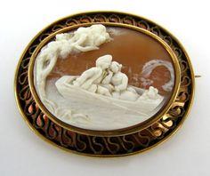 1890's Art Nouveau Natural Shell Cameo 14k Brooch | eBay