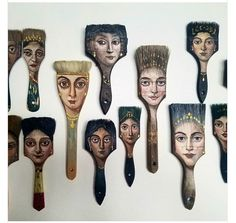 Recycled Art: Los Angeles-based surrealist Alexandra Dillon turns worn-out objects like paint brushes, axes, etc. into unique painting canvases. Paint Brush Art, Paint Brushes, Inspiration Art, Art Inspo, Assemblage Kunst, Art Altéré, Art Populaire, Classic Portraits, Junk Art