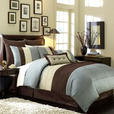 Looking for Calking Size Blue Hudson Luxury Bedding Set ? Check out our picks for the Calking Size Blue Hudson Luxury Bedding Set from the popular stores - all in one. King Size Comforters, Queen Comforter Sets, Bedding Sets, Brown Comforter, Queen Duvet, Dorm Bedding, Home Bedroom, Master Bedroom, Bedroom Decor