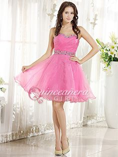 Pink Puffy Crystal Sweetheart Corset Organza Short Quinceanera Dress - US$ 89.99 - Style Q0143 - Quinceanera Girl