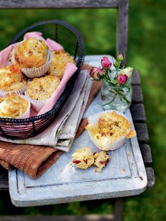 These cheesy muffins are perfect for keeping the guests (and the cook) happy while other dishes are being prepared. Serve them for brunch or afternoon
