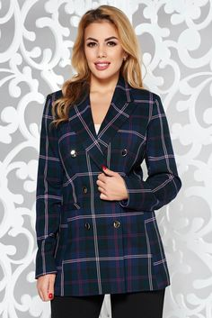 StarShinerS darkblue tented jacket with inside lining from non elastic fabric plaid fabric Plaid Fabric, Product Label, Line, Dark Blue, October, Glamour, Buttons, Blazer, Boutique