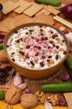 Mast o Khiar is a delicious, creamy Persian yogurt dip, that you can enjoy simply on its own, with crackers as a snack, or as a side to a main meal. Iranian Dishes, Iranian Food, Arabic Dessert, Arabic Food, Arabic Sweets, Indian Dessert Recipes, International Recipes, Food Plating, Raisin