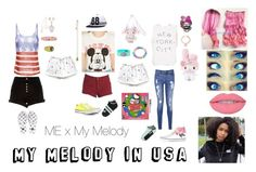 """""""My Melody in USA"""" by teanster123 ❤ liked on Polyvore featuring Forever 21, River Island, Billabong, Cartoon Network, Tommy Hilfiger, Lagos, Michael Kors, Converse and country"""