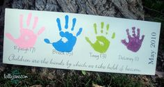 *Mother's Day* Handprint board - great idea for giving to Grandma's too (especially if they are so far away like mine are!)