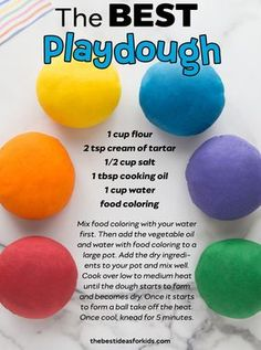 - the best playdough recipe you'll ever try! Soft and lasts for months! Easy to make too! The BEST playdough recipe you will ever try with only 5 ingredients! This homemade playdough is soft, easy to make and lasts for months! Toddler Fun, Toddler Crafts, Indoor Toddler Activities, Rainy Day Activities For Kids, Sensory Activities Toddlers, Children Activities, Summer Activities, Outdoor Activities, Fun Crafts For Kids
