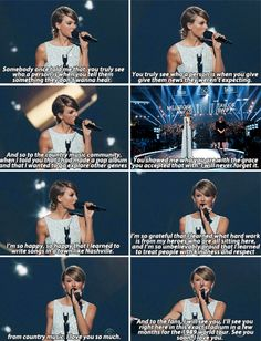 Taylor Swift accepting her Milestone Award at the 50th annual ACM awards.