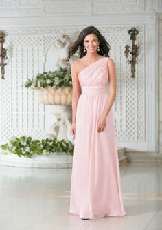 A-Line One-Shoulder Pleated Zipper Back Chiffon Floor-Length Bridesmaid Dresses