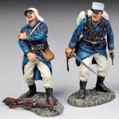 French Foreign Legion FFL004A Officer with Sword & Wounded wearing Kepis - Made by Thomas Gunn Military Miniatures and Models. Factory made, hand assembled, painted and boxed in a padded decorative box. Excellent gift for the enthusiast.