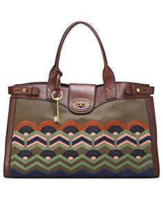 Fossil Embroidered Vintage Weekender Bag