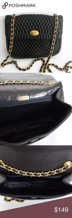 """//V i n t a g e • B A L L Y • C r o s s b o d y// Vintage BALLY quilted classic black lamb skin calf shoulder/cross body style purse. Very good vintage condition with light wear on exterior and very clean leather interior.       W8.9"""" x H7.3"""" x D2.1""""                                                Shoulder: 40.6                                                           Strap Drop: 19.3                                                       Fits iPhone 7! Bally Bags Crossbody Bags"""