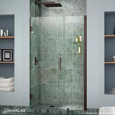 "Dreamline SHDR-20457210S Unidoor 72"" High x 46"" Wide Hinged Frameless Shower Doo Oil Rubbed Bronze Showers Shower Doors Swing"