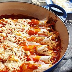 If you love pulled pork enchiladas, but don't feel like splurging for dinner out, make this easy casserole version. Purchased enchilada sauce is the shortcutsecret to the authentic flavors in the simple recipe.