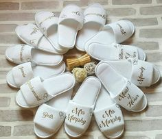 Bridesmaid Slippers Personalised Wedding by ForgetMeKnotWed