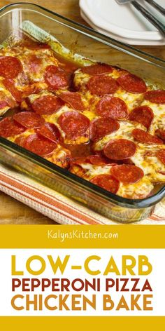 Try this Low-Carb Pepperoni Pizza Chicken Bake when you need some low-carb and g. Try this Low-Carb Pepperoni Pizza Chicken Bake when you need some low-carb and gluten-free comfort Healthy Low Carb Recipes, Low Carb Dinner Recipes, Keto Dinner, Low Carb Keto, Cooking Recipes, Chicken Bake Recipes, Spinach Recipes, Carb Free Foods, Low Carb Food