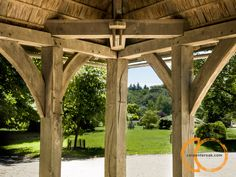 Timber frame entrance for the Great Hall Gazebo, Pergola, Post And Beam, Entrance, Shed, Carving, Outdoor Structures, Building, Frame