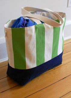 EXTRA Large Beach Bag // Tote in Green and Cream by LucyJaneTotes, I own one of these totes and it's awesome!  I love it!  It holds a lot of stuff and it's adorable.  Makes me want more!