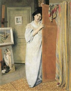 THE WOMAN OF THE ARTIST IN ITS STUDIO,  a(n) Felix Vallotton paintings