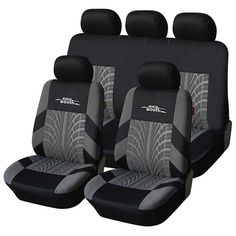 Automotive Innovations Grey Polyester Front//Back Bucket Universal Fit Seat Cover Kit