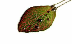 Garnet necklace Dried plant necklace Resin real by ArtOreCrafts