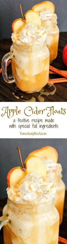 These Apple Cider Floats are made from special fall ingredients & are a perfect way to enjoy the flavors of fall as the weather begins to cool! Fall is filled w (Favorite Desserts Yum Yum) Apple Recipes, Fall Recipes, Holiday Recipes, Detox Recipes, Drink Recipes, Yummy Treats, Sweet Treats, Yummy Food, Tasty