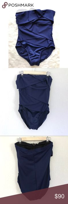 01a48fc19e MIRACLESUIT Muse Navy One Piece Strapless Swimsuit Miraclesuit