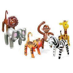 Jungle Safari Opblaas Dieren - Sisters in Wonderland6 opblaasdieren (leeuw, olifant, tijger, aap, zebra en giraffe) in de maten 40,6 tot 63,5 cm. 22,5euro