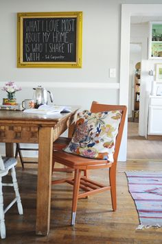 natalie creates // dining room with farm table & bright orange chairs