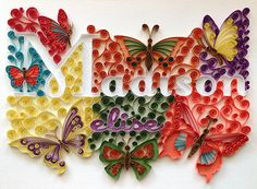 Quilling  Custom Name Butterfly Wall by HalcyonCreativeGifts