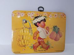 Barbara Bradley Hot & Wall Cork Plaque Dole Pineapple Happy Hawaiian Boy Vintage #DoleKidsCastleCookieInc
