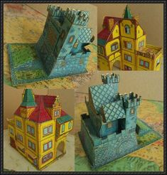 A Corner House And A Small Castle Free Building Paper Models Download