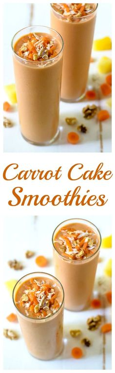 Carrot Cake Smoothie. Made with bananas, fresh carrots and spices, so this healthy smoothie tastes just like carrot cake! Recipe at wellplated.com @wellplated