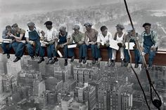 "Lunch Atop A Skyscraper Poster 24""x36"" Color Colorized Workers Break New X614 