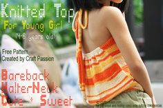 """Get free written knitting pattern to knit a halter top for girl. This pattern is for 4-6 years old girls or with chest measurement of 22.5"""" – Page 2 of 2"""
