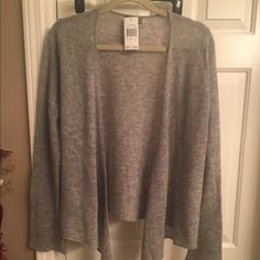 Cashmere Sweater Light gray/silver open cashmere sweater size large. New with tags Premise Sweaters Cardigans