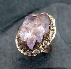 Raw Rough Uncut Kunzite Diamonds Rose Gold Halo Ring Engagement Wedding Ring Statement ring anniversary ring byAngeline  Raw rough uncut Kunzite feels
