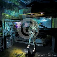 Woman playing rock with her electric guitar, as she is watching a rock concert in a screen, inside a spatial station orbiting around Earth.  Could be used as CD cover.
